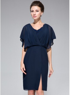 Sheath/Column V-neck Knee-Length Chiffon Mother of the Bride Dress With Lace Beading Sequins Split Front Cascading Ruffles