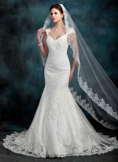 Trumpet/Mermaid Sweetheart Chapel Train Tulle Lace Wedding Dress