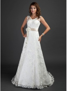 A-Line/Princess V-neck Court Train Lace Wedding Dress With Sash Beading Flower(s)