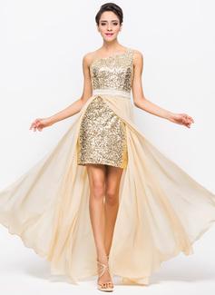 Corte A/Princesa Un sólo hombro Asimétrico Chifón Charmeuse Con lentejuelas Vestido de baile de promoción