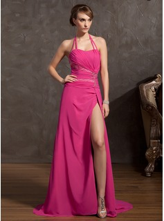 A-Line/Princess Halter Sweep Train Chiffon Prom Dress With Ruffle Beading Split Front