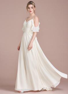 Corte A/Princesa Hasta el suelo Gasa Vestido de novia con Cascada de volantes