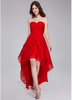 A-Line/Princess Sweetheart Asymmetrical Chiffon Holiday Dress With Cascading Ruffles