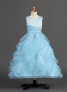 A-Line/Princess Ankle-length Flower Girl Dress - Organza/Satin Sleeveless Scoop Neck With Ruffles/Beading