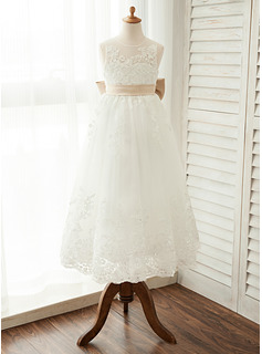 A-Line/Princess Floor-length Flower Girl Dress - Satin/Tulle/Lace Sleeveless Scoop Neck With Sash/Bow(s)