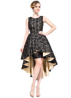 A-Line/Princess Scoop Neck Asymmetrical Taffeta Cocktail Dress With Ruffle