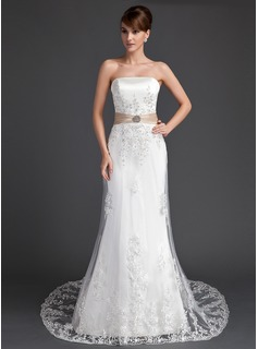 Trumpet/Mermaid Strapless Court Train Tulle Wedding Dress With Lace Sash Crystal Brooch Sequins