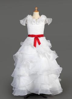 A-Line/Princess Floor-length Flower Girl Dress - Taffeta/Organza Sleeveless Scoop Neck With Ruffles/Sash/Flower(s)/Bow(s)