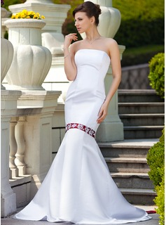 Trumpet/Mermaid Strapless Watteau Train Satin Wedding Dress With Sash Beading Appliques Lace
