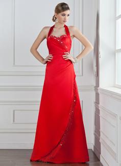 A-Line/Princess Halter Floor-Length Satin Bridesmaid Dress With Ruffle Beading