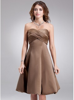 Empire Sweetheart Knee-Length Satin Bridesmaid Dress With Ruffle