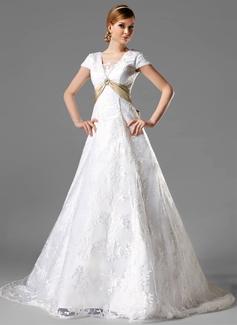 Corte A/Princesa Escote Cuadrado Cola capilla Satén Encaje Vestido de novia con Fajas Alfiler Flor Cristal Lazo(s)