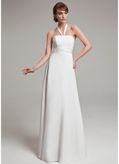 Empire Halter Floor-Length Chiffon Wedding Dress With Ruffle