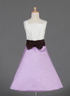 A-Line/Princess Knee-length Flower Girl Dress - Satin Sleeveless Square Neckline With Bow(s)