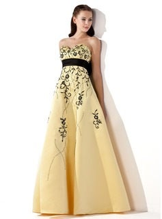 Empire Sweetheart Floor-Length Satin Prom Dress With Embroidered Sash Beading Bow(s)