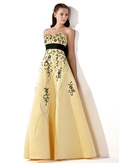 Corte imperial Escote corazón Hasta el suelo Satén Vestido de baile de promoción con Bordado Fajas Bordado Lazo(s)