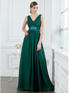 A-Line/Princess V-neck Floor-Length Chiffon Bridesmaid Dress With Ruffle Beading