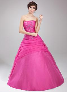 Duchesse-Linie Trägerlos Bodenlang Organza Quinceañera Kleid (Kleid für die Geburtstagsfeier) mit Rüschen Perlen verziert Blumen Pailletten