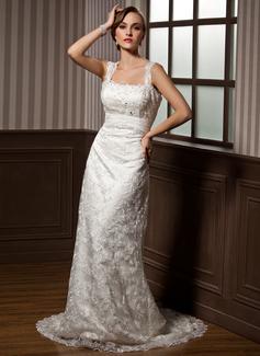 Sheath/Column Sweetheart Watteau Train Lace Wedding Dress With Ruffle Beading