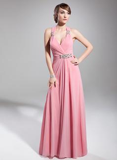 A-Line/Princess Halter Floor-Length Chiffon Holiday Dress With Ruffle Beading