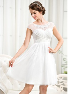 Corte A/Princesa Escote redondo Hasta la rodilla Tul Vestido de novia con Volantes Bordado Los appliques Encaje Lentejuelas
