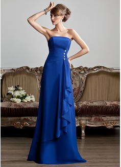 A-Linie/Princess-Linie Trägerlos Bodenlang Chiffon Abendkleid mit Perlen verziert Gestufte Rüschen