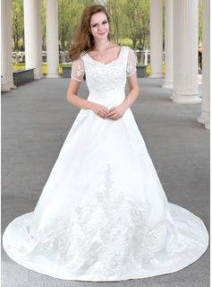 A-Line/Princess V-neck Chapel Train Satin Wedding Dress With Lace Beading