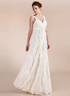 Empire Sweetheart Floor-Length Chiffon Wedding Dress With Bow(s) Cascading Ruffles