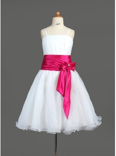 A-Line/Princess Knee-length Flower Girl Dress - Organza/Charmeuse Sleeveless With Sash/Bow(s)/Rhinestone