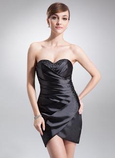 Sheath/Column Sweetheart Short/Mini Charmeuse Cocktail Dress With Ruffle Beading