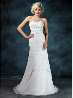 A-Line/Princess Sweetheart Court Train Organza Lace Wedding Dress With Ruffle Beading Sequins