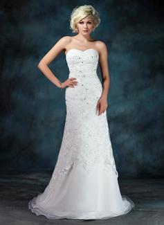 A-linjeformat Hjärtformad Court släp Organzapåse Spetsar Bröllopsklänning med Rufsar Pärlbrodering Paljetter