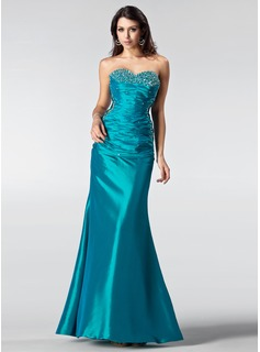 Trumpet/Mermaid Sweetheart Floor-Length Taffeta Prom Dress With Ruffle Beading Sequins