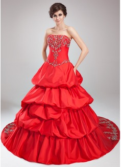 Duchesse-Linie Trägerlos Kathedrale Schleppe Taft Quinceañera Kleid (Kleid für die Geburtstagsfeier) mit Bestickt Rüschen Perlen verziert