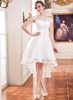 Corte A/Princesa Escote redondo Asimétrico Organdí Satén Vestido de novia con Encaje Bordado Flores