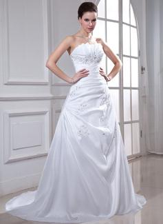 Corte A/Princesa Escote ondulado Cola capilla Tafetán Vestido de novia con Volantes Bordado Los appliques Encaje Lentejuelas
