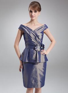 Sheath/Column Off-the-Shoulder Knee-Length Taffeta Mother of the Bride Dress With Beading Flower(s) Cascading Ruffles