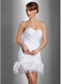 Sheath/Column Sweetheart Short/Mini Satin Organza Wedding Dress With Ruffle Beading Feather Flower(s)