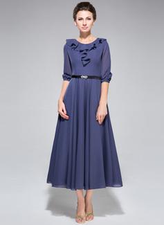 A-Line/Princess Scoop Neck Tea-Length Chiffon Mother of the Bride Dress With Sash Cascading Ruffles
