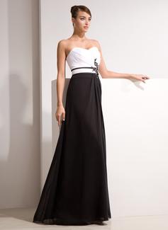 A-Linie/Princess-Linie Herzausschnitt Bodenlang Chiffon Abendkleid mit Rüschen Perlen verziert Applikationen Spitze