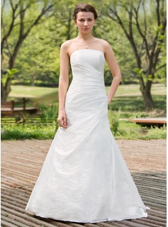 A-Line/Princess Strapless Floor-Length Taffeta Wedding Dress With Ruffle
