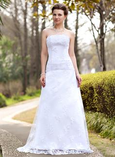 A-linjeformat Axelbandslös Sweep släp Spetsar Bröllopsklänning med Rufsar