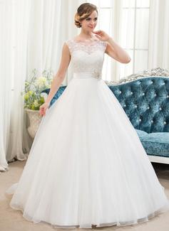 Corte de baile Escote redondo Barrer/Cepillo tren Organdí Satén Encaje Vestido de novia con Bordado Lentejuelas