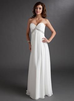 Empire Sweetheart Floor-Length Chiffon Wedding Dress With Ruffle Beading