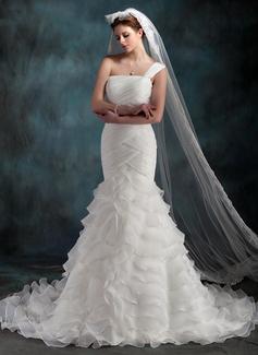 Trumpet/Mermaid One-Shoulder Chapel Train Organza Wedding Dress With Cascading Ruffles