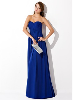 Empire Sweetheart Sweep Train Chiffon Evening Dress With Ruffle