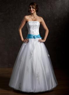 Duchesse-Linie Trägerlos Bodenlang Tüll Quinceañera Kleid (Kleid für die Geburtstagsfeier) mit Schleifenbänder/Stoffgürtel Perlen verziert Applikationen Spitze Schleife(n)