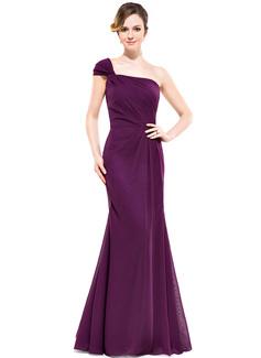 Trumpet/Mermaid One-Shoulder Floor-Length Chiffon Bridesmaid Dress With Ruffle
