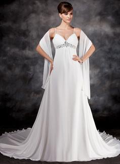 Empire V-neck Chapel Train Chiffon Wedding Dress With Ruffle Beading Sequins