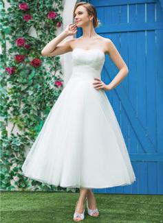 Corte A/Princesa Escote corazón Hasta la tibia Tul Vestido de novia con Volantes